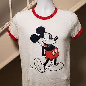 Disney Tops - Mickey Mouse Small Ladies Ringer T-Shirt